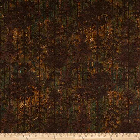 Aspen Ridge Flannel Deciduous Tree's Copper Brown Fabric