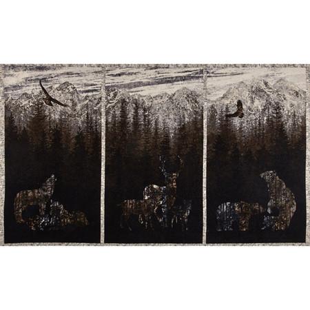 Aspen Ridge Flannel Deer Panel Slate Fabric