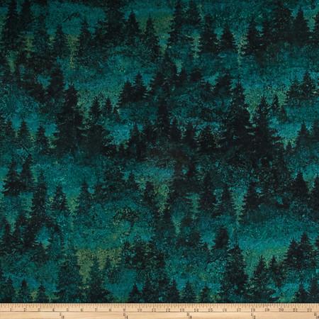 Aspen Ridge Flannel Evergreen Tree's Green Fabric