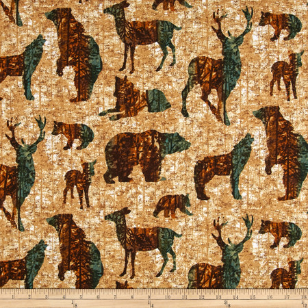 Aspen Ridge Flannel Forest Animals Tan Fabric
