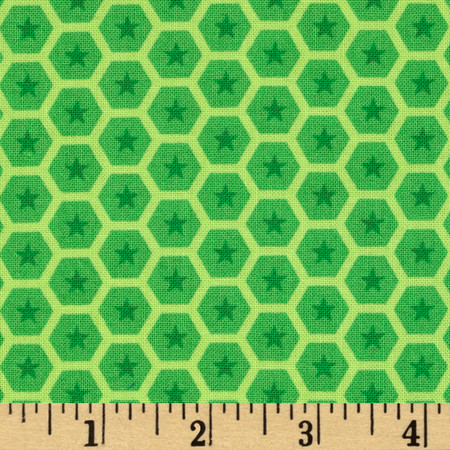 At the Zoo Tonal Honeycomb Green Fabric By The Yard