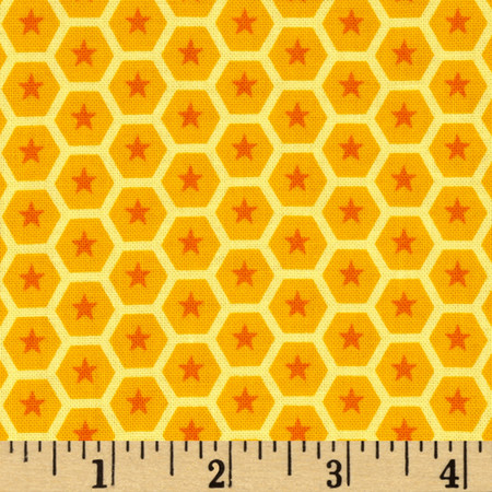 At the Zoo Tonal Honeycomb Yellow Fabric