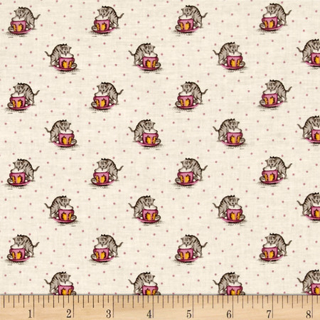 Aunt Grace Cats Pink Fabric By The Yard