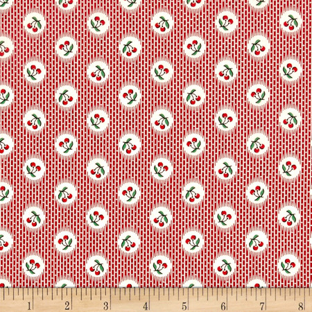 Aunt Grace Cherries Red Fabric By The Yard