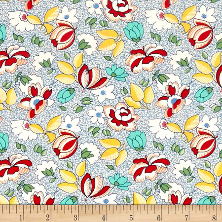 Aunt Grace Flower Green Fabric By The Yard
