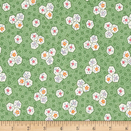 Aunt Grace Shapes Green Fabric By The Yard