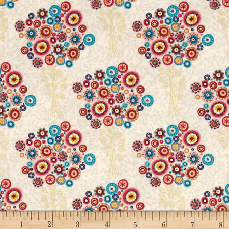 Aurelia Trees Metallic Cream Fabric
