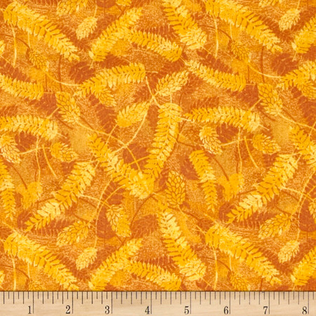 Autumn in the Forest Fern Gold Fabric By The Yard