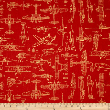 Aviator Plane Blueprints Ketchup Fabric By The Yard