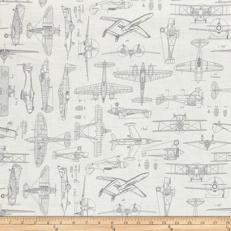Aviator Plane Blueprints Light Natural Fabric By The Yard