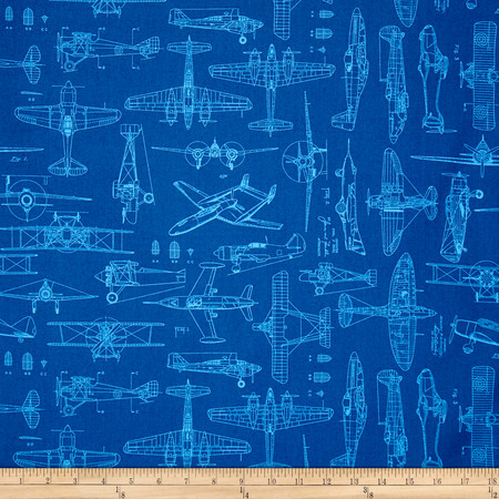 Aviator Plane Blueprints Royal Fabric By The Yard