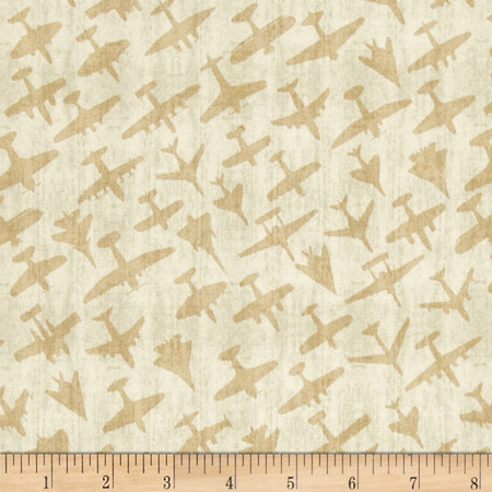 Aviator Plane Silhouettes Parchment Fabric By The Yard