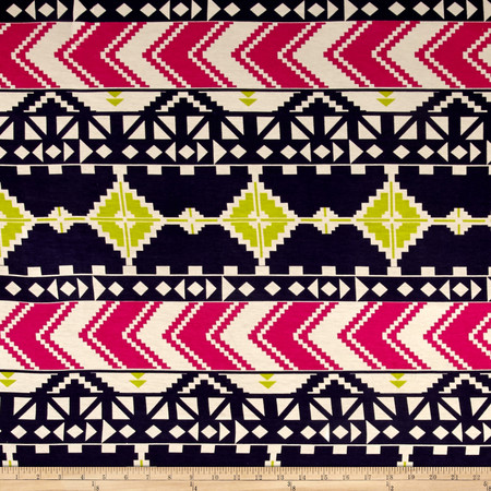 Aztec Chevron Diamond Jersey Knit Print Navy/Hot Pink Fabric By The Yard
