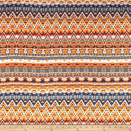 Aztec Rayon Challis Orange/Blue/Yellow Fabric