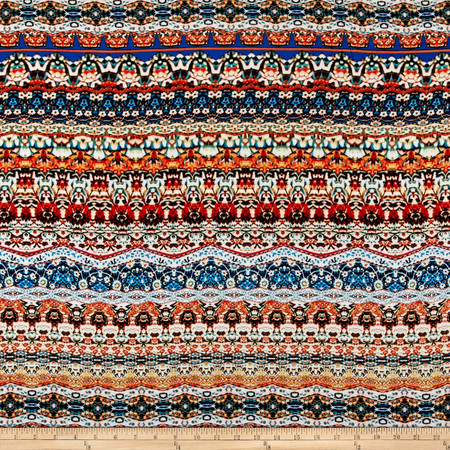 Aztec Rayon Challis Yellow/Orange/Turquoise Fabric