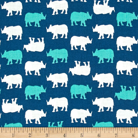 #Baby Chic Rhino Teal Fabric
