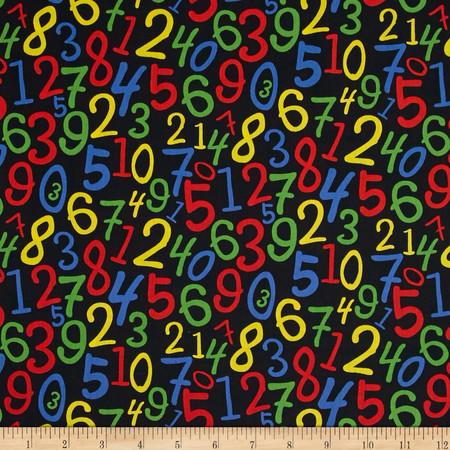 Back to School Numbers Black Fabric By The Yard