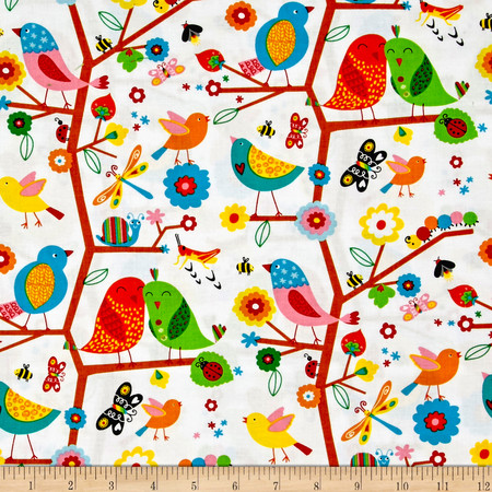 Backyard Buzz Birds And Company White Fabric By The Yard