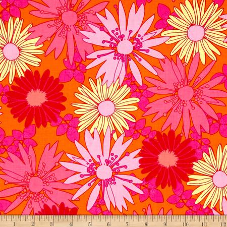 Bahama Breeze Sunshine Daisy Orange Crush Fabric By The Yard