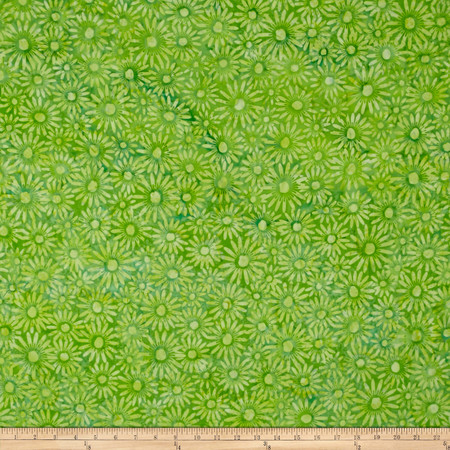Bali Batiks Handpaints Daisies French Lime Fabric By The Yard