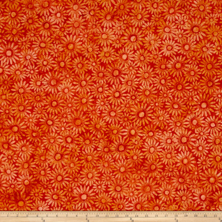 Bali Batiks Handpaints Daisies Orange Fabric By The Yard