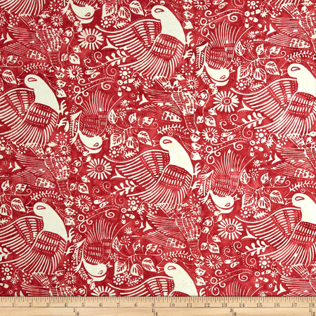 Bali Batiks Handpaints Ethnic Bird Burgundy Fabric