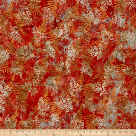 Bali Batiks Handpaints Fern Crawfish Fabric By The Yard