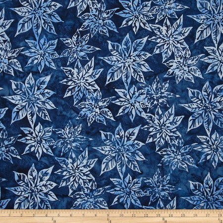 Bali Batiks Handpaints Poinsettias Navy Fabric