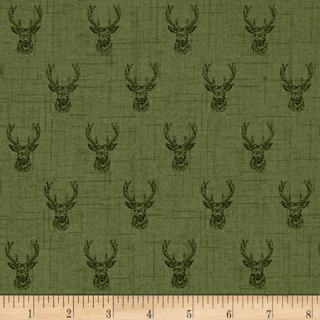 Balmoral Stags Head Green Fabric By The Yard