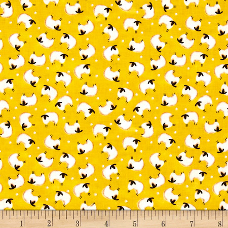 Barnyard Quilts Sheep Yellow Fabric By The Yard