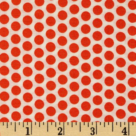 Basic Training Medium Dot White/Orange Fabric By The Yard