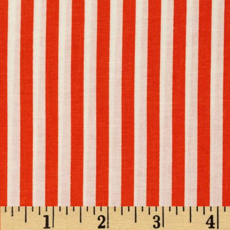 Basic Training Stripe Orange/White Fabric By The Yard