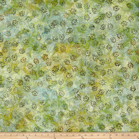 Wilmington Batik Dancing Leaves Little Green Fabric By The Yard