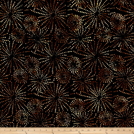 Batavian Batiks Sparklets Black/Brown Fabric