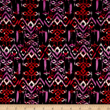 Batik Jersey Knit Print Black/Orchid Fabric By The Yard