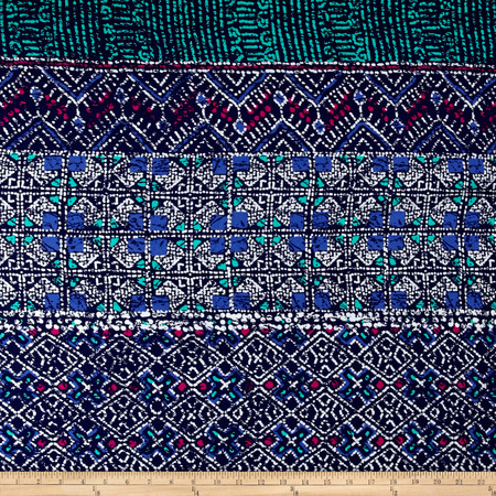 Batik Print Rayon Challis Navy/Aqua Fabric By The Yard