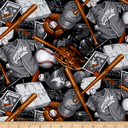 Batter Up! Baseball Accessories Black Fabric