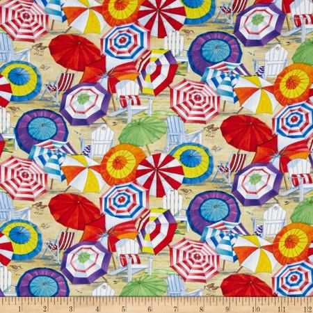 Beach Vista Umbrellas Sand Fabric By The Yard