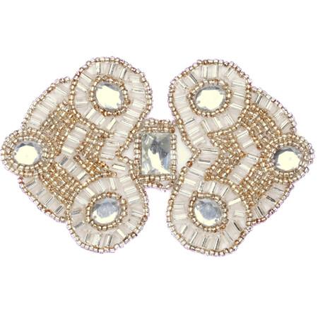 Beaded Double Diamond Applique Silver