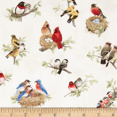 Beautiful Birds Birds All Over Cream Fabric By The Yard