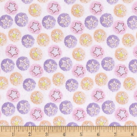 Bedtime Bears Star Dreams Flannel Pink/Purple Fabric By The Yard