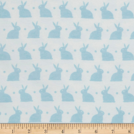 Bedtime Bunny Flannel White/Dreamy Blue Fabric By The Yard