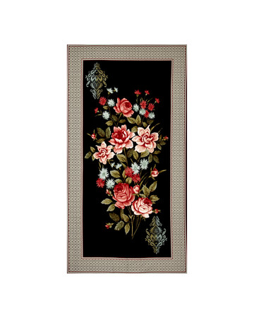 Bella Framed Flowers 23.5'' Panel Black/Multi Fabric By The Yard