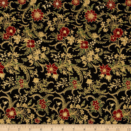 Berries and Blooms Metallic Christmas Floral Black/Gold Fabric