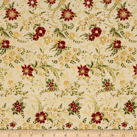 Berries and Blooms Metallic Christmas Floral Natural/Gold Fabric