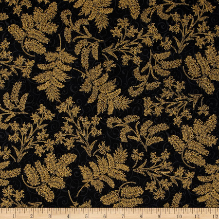 Berries and Blooms Metallic Christmas Thistle Black/Gold Fabric