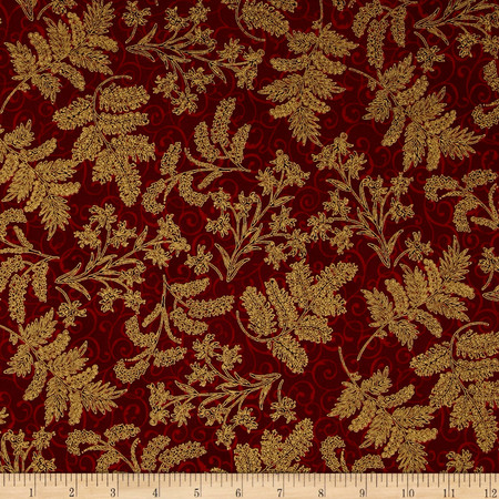 Berries and Blooms Metallic Christmas Thistle Burgundy/Gold Fabric