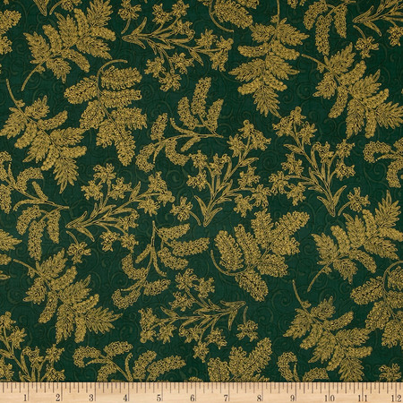 Berries and Blooms Metallic Christmas Thistle Evergreen/Gold Fabric