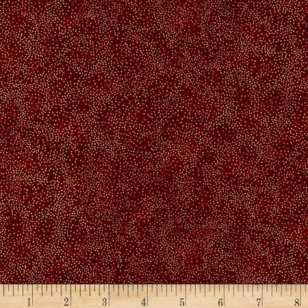 Berries and Blooms Metallic Fleck Dots Scarlet/Gold Fabric