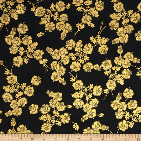 Berries and Blooms Metallic Foil Floral Black/Gold Fabric